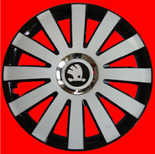 "15"" Wheel trims fit Skoda Roomster Rapid Octavia  Fabia  - 4x15'' 'black/white"