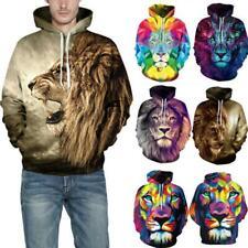 Men Women Couple Hoodies Sweatshirt 3D Lion Print Autumn Winter Hooded Pullover