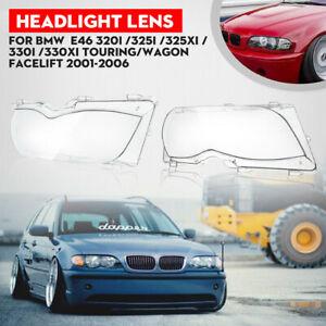 2PCS Headlight Headlamp Lens Cover For 02-05 BMW 320i 325i E46 3-series 4 Door