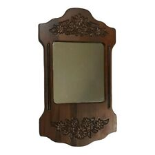 Small Decorative Mirror Wood Floral Engrave Brown Country Wall Hanging