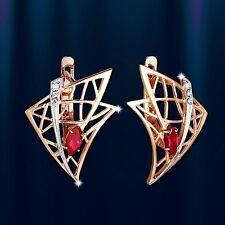 Rose Rotgold 585 Gold Ohrringe mit Korund RUBIN und CZ. Neu  Glänzend.