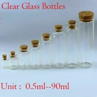 0.5ML~90ML Clear Mini Small Cork Stopper Glass Vial Jars Containers Bottles