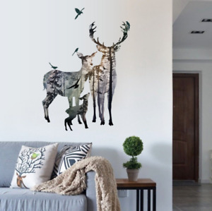 Deer Forest Decals Wall Stickers Removable Art Mural Vinyl DIY Home UK 109