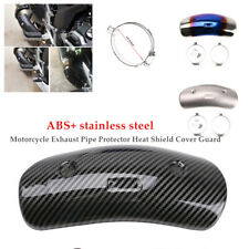 Bent Motorcycle Carbon fiber Exhaust Pipe Protector Heat Shield Cover Guard Kit