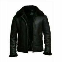 RAF B3 Bomber Black Aviator Winter Flight Sheepskin Real Leather Jacket For Men