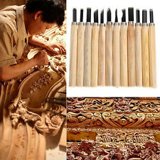 12Pcs Woodworking Crafts Hand Chisel Wood Carving Tool Kits Gouges Woodworkers