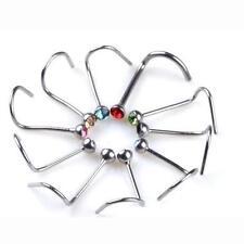20X Mixed Nose Studs Crystal Ring Bone Bar Surgical Steel Pin Piercing Women men