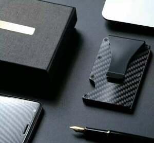 RFID Blocking Wallet Mens Carbon Fiber Minimalist Pockets Money Clip gift