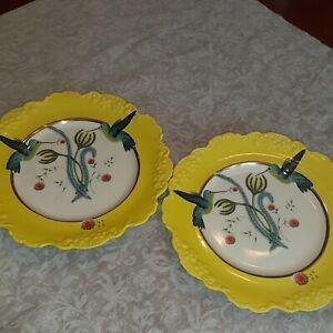 Anthropologie Nature Table Lou Rota Hummingbird Dessert Plates(2) Yellow New