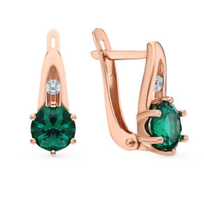 585 Gold/ Sterling Fine Silver Nano Emerald Earrings Russian Brand High Quality