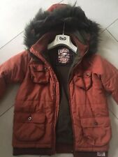 Boys Junior D&G Deep Burnt Orange Parker Style Padded Coat With Fur Hood Age 12