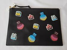 FOSSIL Emma Multi Color Patch Stickers Pouch Bag on Black Pebble Leather NWT!