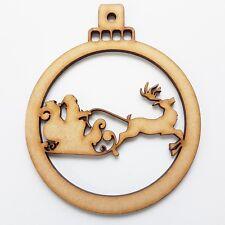 Santa Reindeer MDF Decoration Laser Cut Wooden Shape Baubles Christmas balls