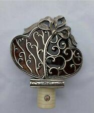 Brighton Night Light Silvertone Heart Bow Ribbon Stained Glass Auto Sensor Box