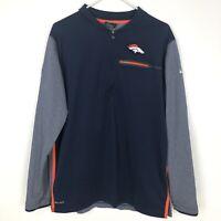 Nike Mens Denver Broncos Large 1/4 Zip Pullover Windbreaker NFL On Field