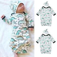 2Pcs Newborn Infant Baby Girls Boy Cartoon Dinosaur Pajamas Gown Swaddle Outfits