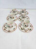 The Joy of Christmas Jamestown China Ceramic Cups Saucers Bread Plates Set