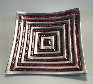 Vintage 1980's Aluminum Sparkly Red & Silver Square Curved Footed Plate India