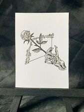 ACEO Original Sagittarius Arrow Medium Black Ink Marker on Paper Signed Artist
