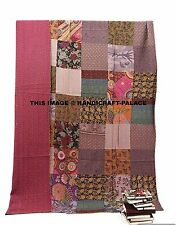 Indian Floral Patch Work Kantha Quilt Kantha Blanket Bedspread Twin Size Quilt