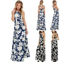 UK Women's Summer Halter Sleeveless Dress O Neck Beach Maxi Boho Long Sundress