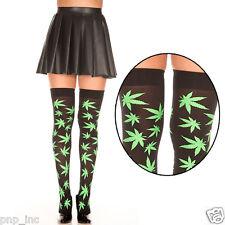 Black Green Pot Leaf Marijuana Plant Thigh High Hi Stockings Socks Hippie Stoner