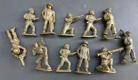 LOT of 11 VINTAGE AJAX 1950s Soft & Hard Plastic U.S. Army Men WWII WWI Soldier