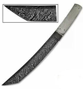 """12""""Custom HAND FORGED DAMASCUS STEEL Hunting Tanto KNIFE BLANK BLADE Full Tang"""