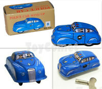 MS644 Mini Police Car Retro Clockwork Wind Up Tin Toy w/Box