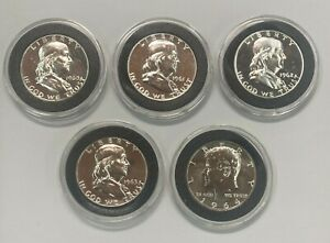 1960 1961 1962 1963 1964 Silver Proof  Half Dollars in Capsules 5 Coin Lot