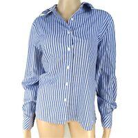 Foxcroft Sz 14 Blue White Striped Wrinkle Free Long Sleeve Button Up Dress Shirt