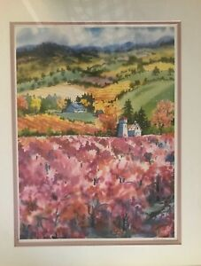 """Ellie Marshall """"Wine Country"""" Signed and Matted 24""""x30"""" Print"""