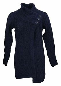 Aran Craft Women's Sweater Sz 2XS (XXS) Merino Wool Long Cardigan Blue A275981