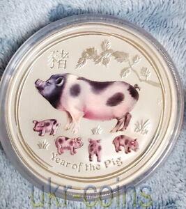 2019 Australia Lunar II Year of the Pig 5 Oz Silver Colorized Coin BU $8