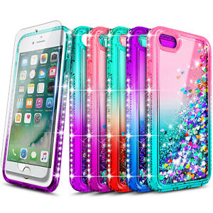 For iPhone 6 6s 7 8 Plus Case Liquid Glitter Shockproof Cover + Screen Protector