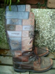 TIMBERLAND - PATCHWORK LEATHER TALL BOOTS - LACE-UP FRONT - UK 6.1/2 (US 8.1/2M)