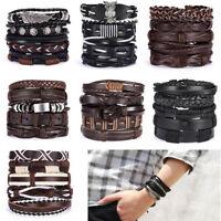 Fashion Mens Women Punk Leather Wrap Braided Wristband Cuff Punk Bracelet Bangle