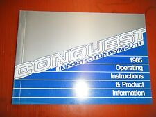 1985 Plymouth Conquest Original Factory Operators Owners Manual