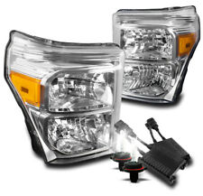 2011-2016 FORD F250 F350 F450 SUPERDUTY CHROME CRYSTAL HEADLIGHT +50W 6K HID SET