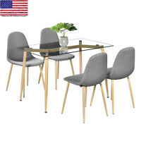 5 Piece Dining Table Set 4 Chair Modern Style Simple Dining Chairs Furniture