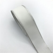 "5yds 1"" 25mm Silver Metallic Edge Grosgrain Ribbon Wedding Christmas Decoration"