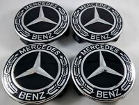 2018 4x Mercedes Benz Alloy Wheel Centre Caps 75mm Badges ALL BLACK Hub Emblem b
