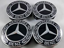 2018 4x Mercedes Benz Alloy Wheel Centre Caps 75mm Badges ALL BLACK Hub Emblem