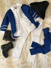 Child History Play Colonial Soilder Blue Coat Deborah Sampson Costume Sz 7/8