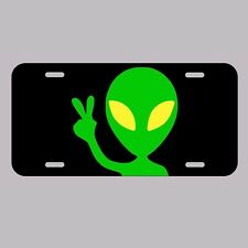 Alien Peace Sign License Plate Tag Made In USA UFO martian area 51 mufon space