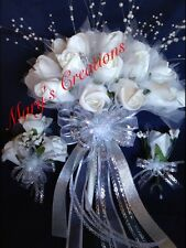 3 PC WHITE FOAM ROSE FLOWERS BOUQUET WEDDING ANNIVERSARY QUINCEARNEA SILVER