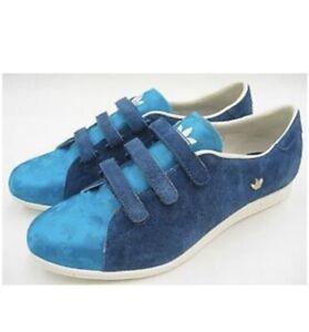 Adidas Sleek Series Vintage Sneakers Blue Suede & Silk Size 8
