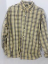 ENYCE Men's long sleeve button front yellow plaid shirt, size XL