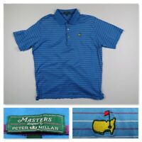 Peter Millar Masters Mens XL Blue Striped Polo Shirt Golf Augusta National PGA