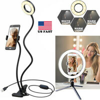 US LED Selfie Ring Light With Tripod Stand Phone Holder for Makeup & Live Stream